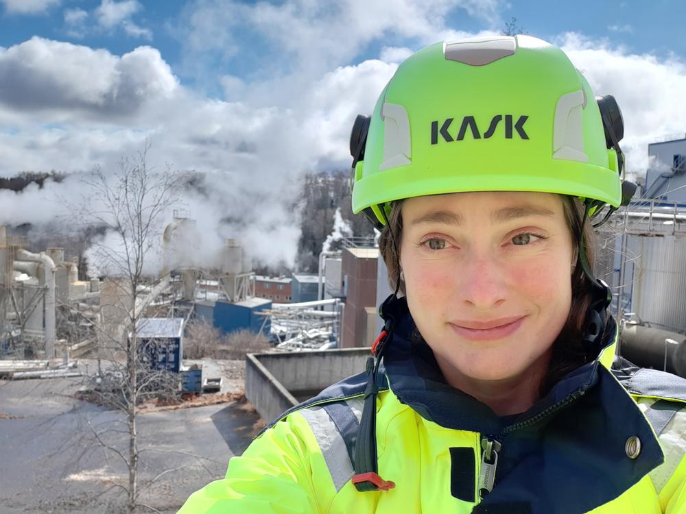 Helene Vasiliou är arbetsmiljöingenjör på Rottneros Bruk. Foto: Rottneros.