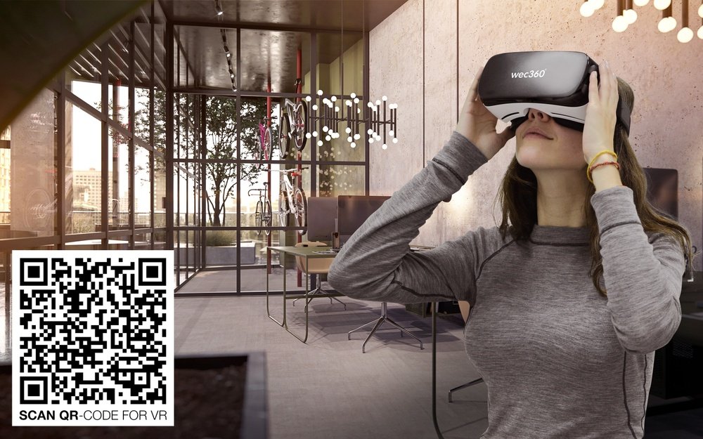 Scan the QR-code in the image to step into the future 1245 Broadway offices, and explore it in full Virtual Reality directly on you smartphone or tablet.