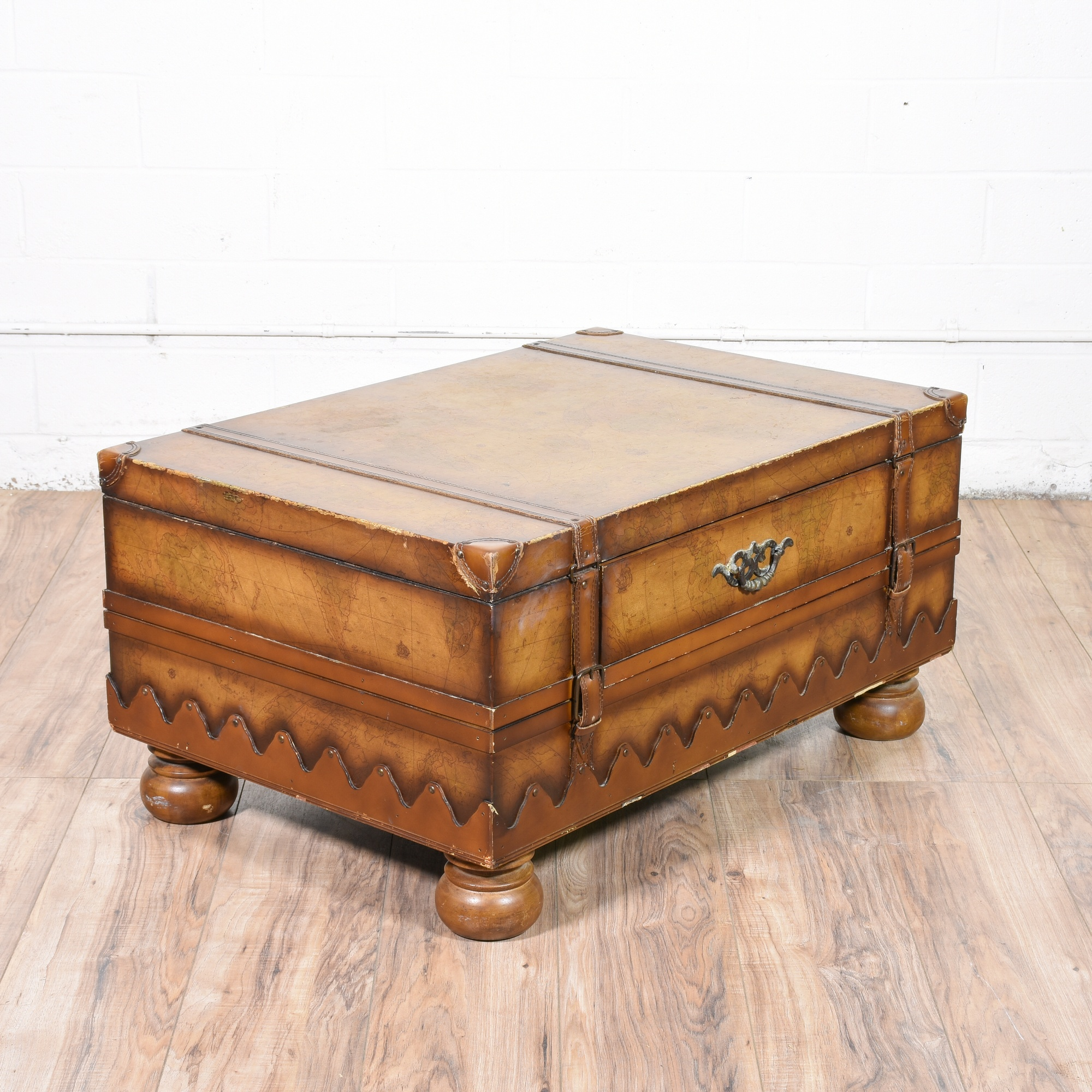 Old World Coffee Table Map Trunk