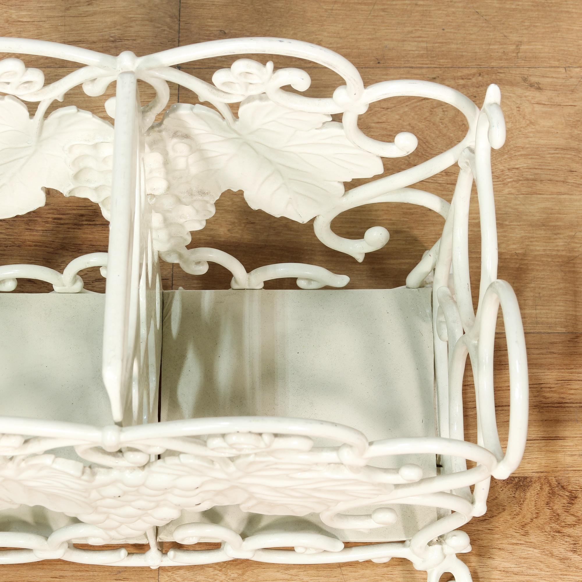 shabby chic white metal grape motif magazine rack loveseat vintage furniture san diego los. Black Bedroom Furniture Sets. Home Design Ideas