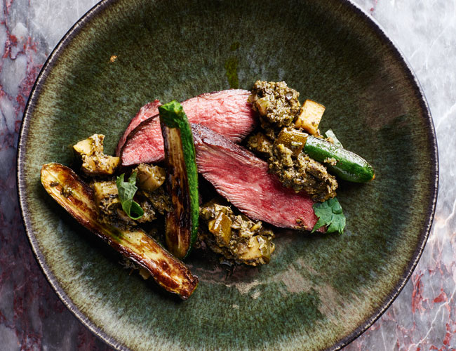 Iberico pork with chard miso and courgettes from Chiltern Firehouse The Cookbook