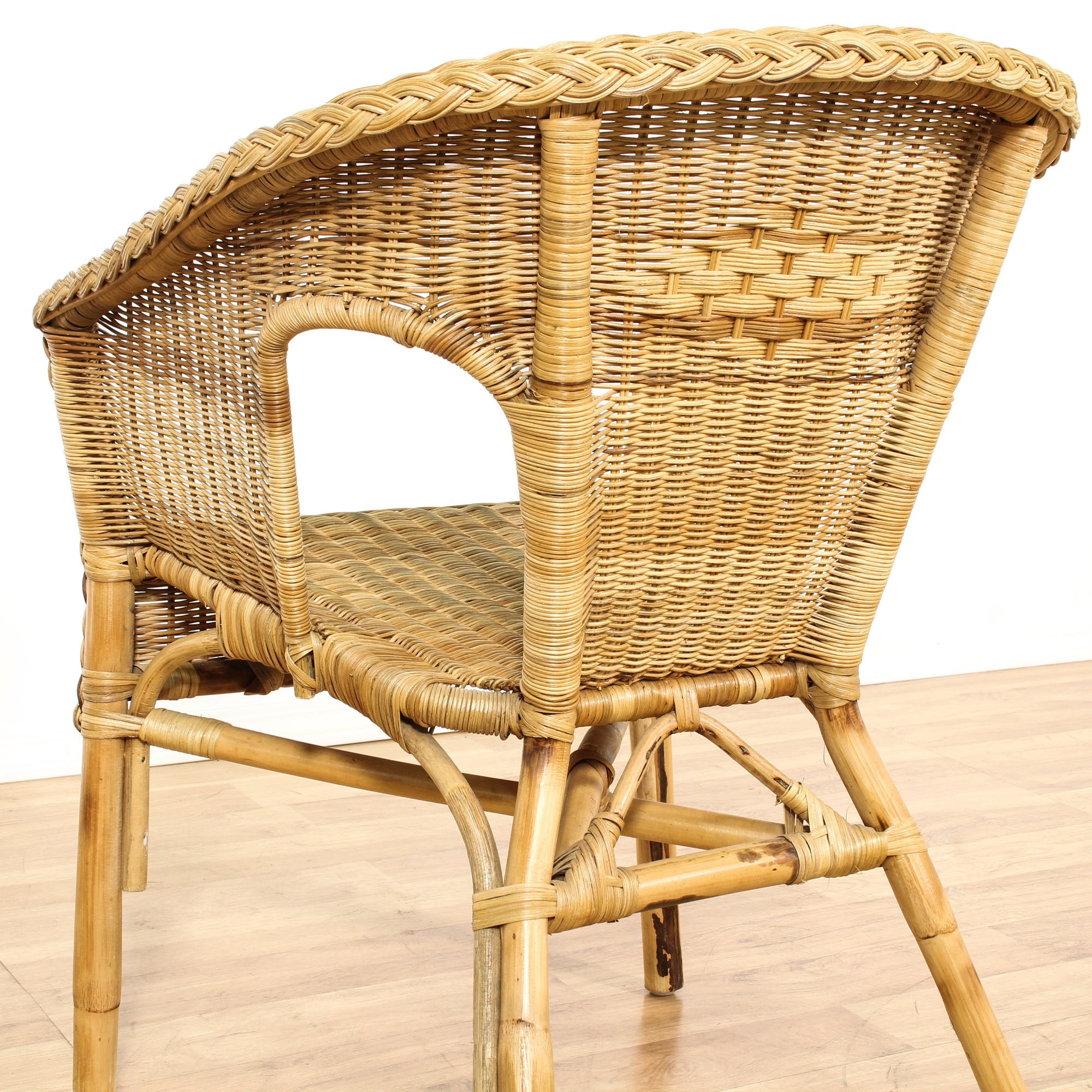 Barrel Back Wicker Chair Loveseat Vintage Furniture San