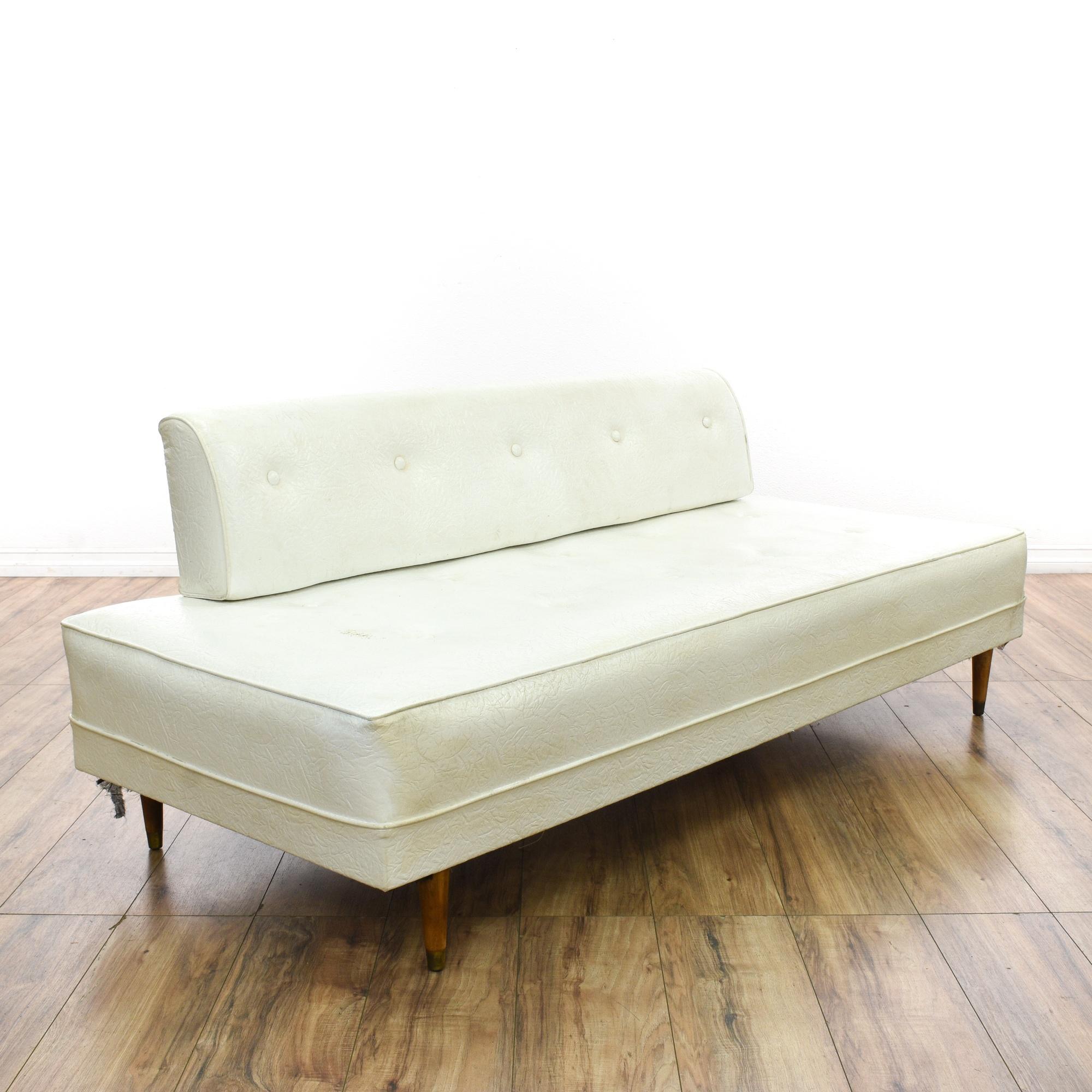 Mid century modern white vinyl daybed sofa loveseat for Mid century daybed sofa