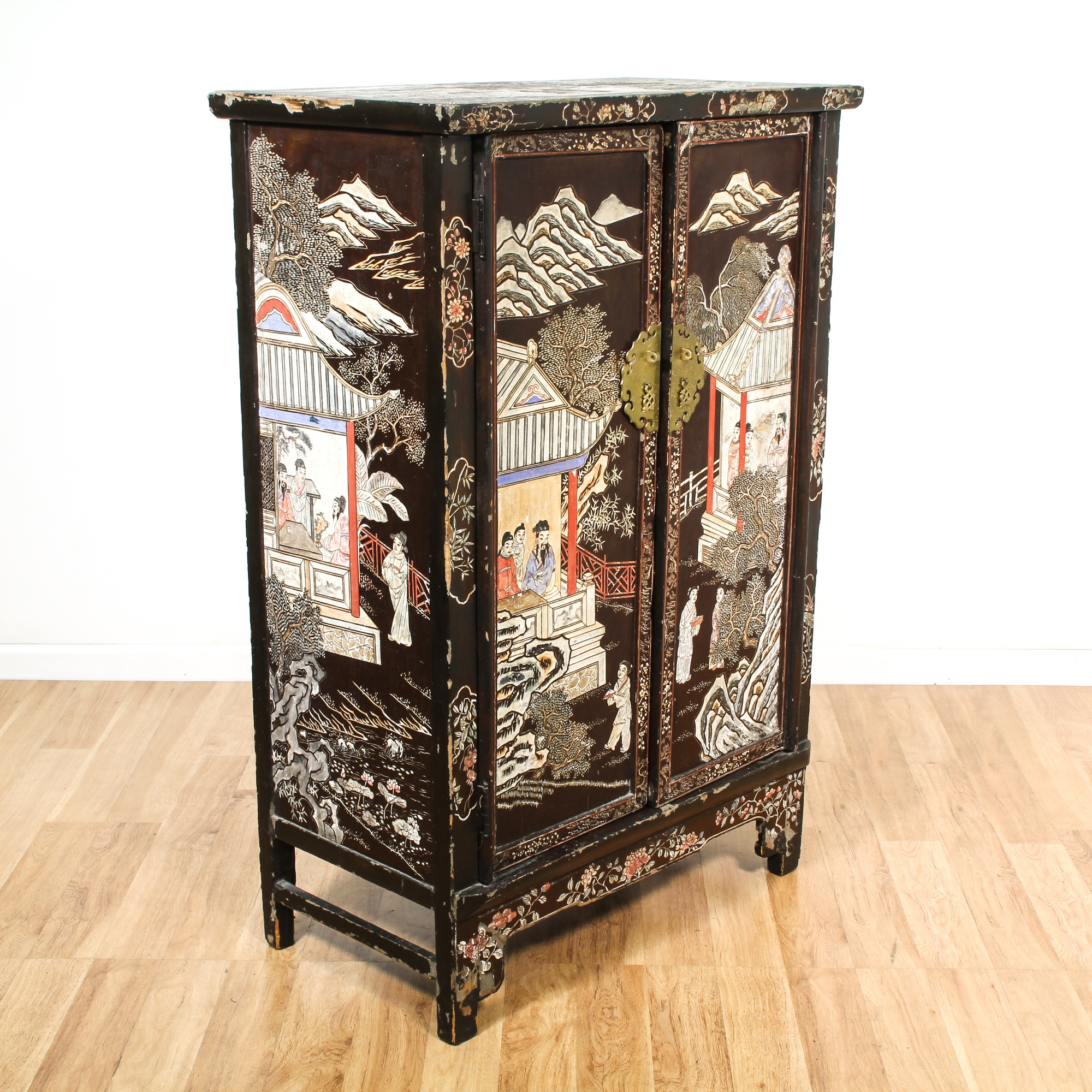 Chinese black painted chinoiserie cabinet bookcase for Oriental furniture los angeles