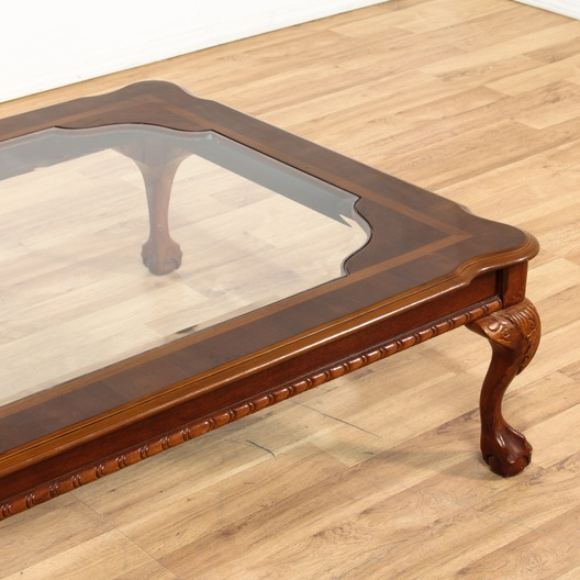 Large Coffee Table W/ Claw & Ball Feet & Glass Top