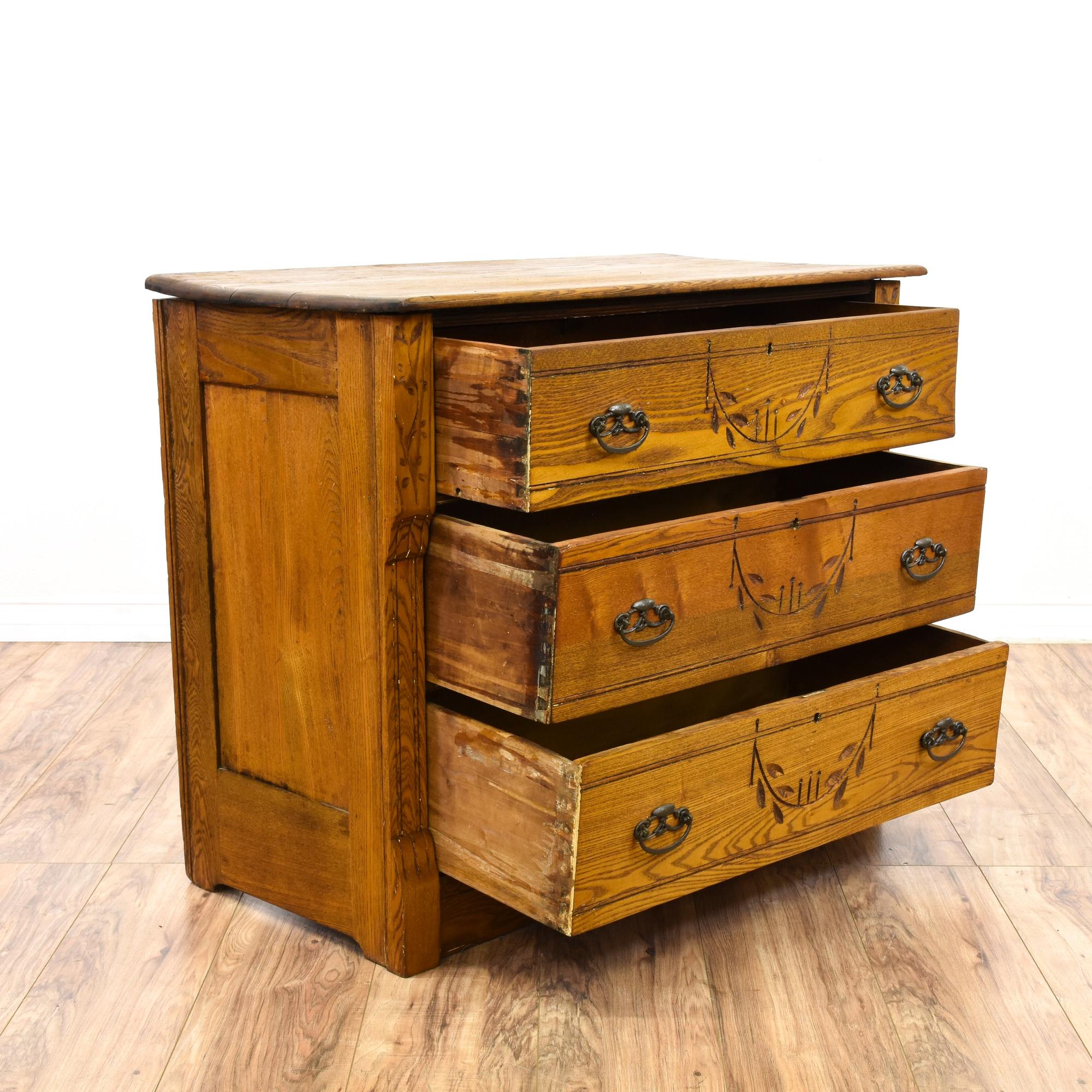 Eastlake 3 Drawer Oak Short Dresser Loveseat Vintage