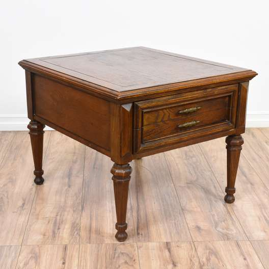 Carved Oak 1 Drawer End Table