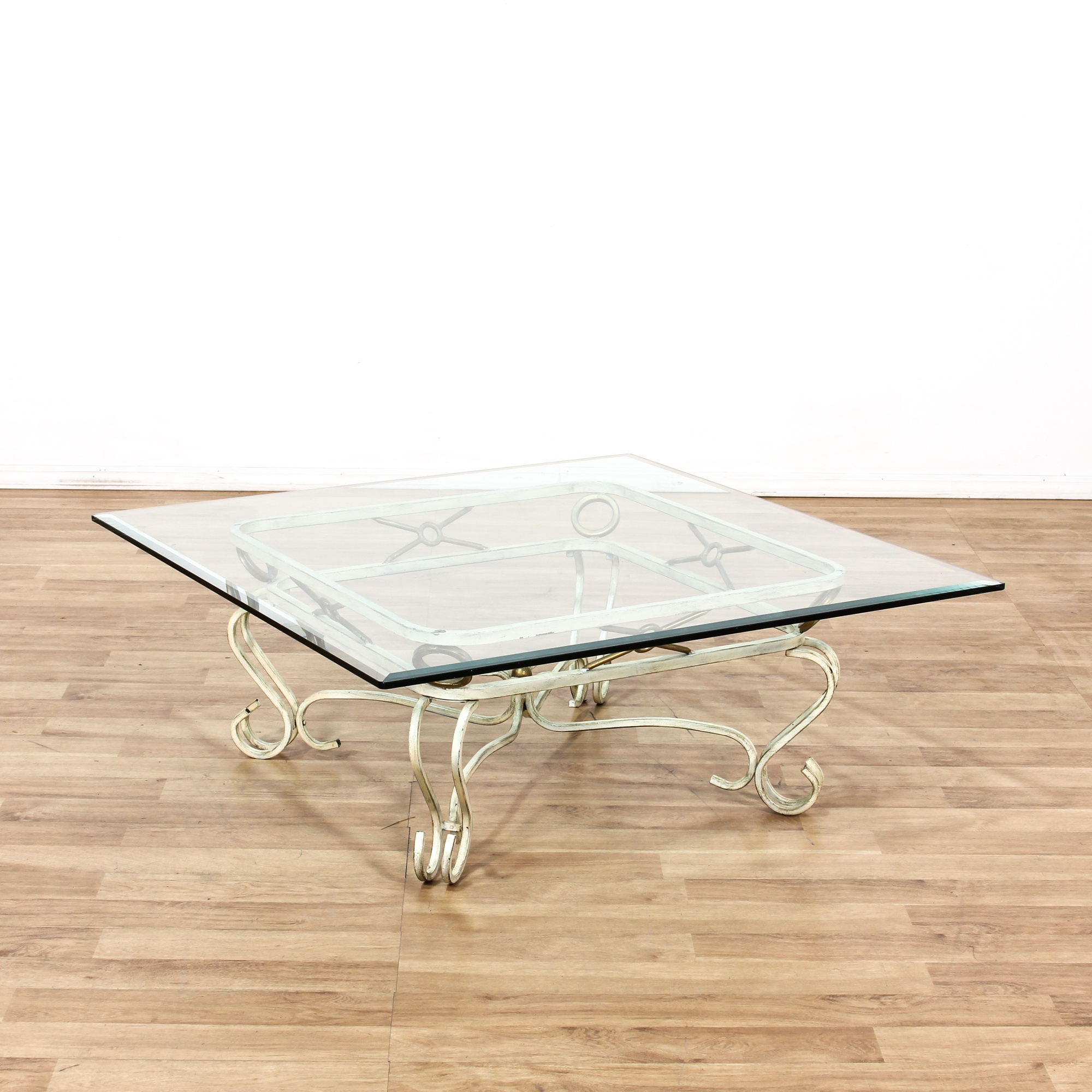 40 Metal Square Coffee Tables: Glass Top Metal Scroll Base Square Coffee Table
