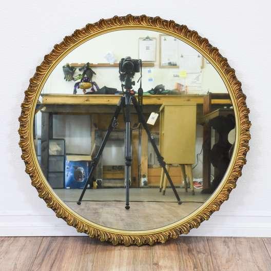 Round Carved Gold Mirror