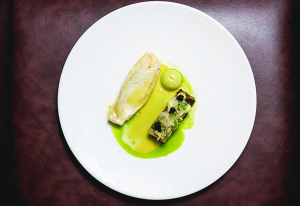 Lemon sole, fennel, leek, nori