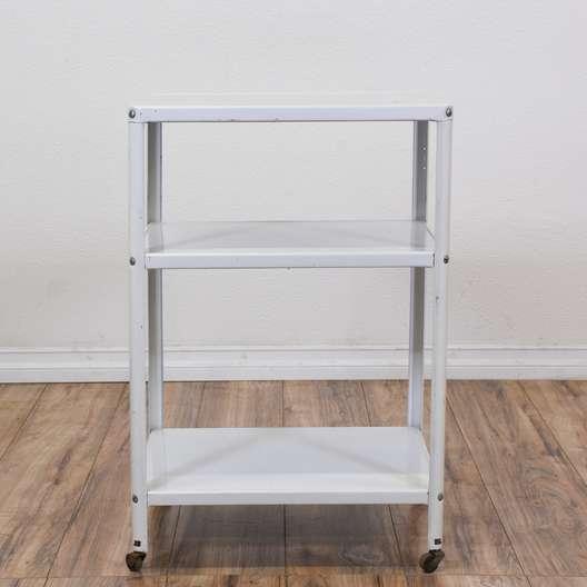 White Metal Rolling Kitchen Cart