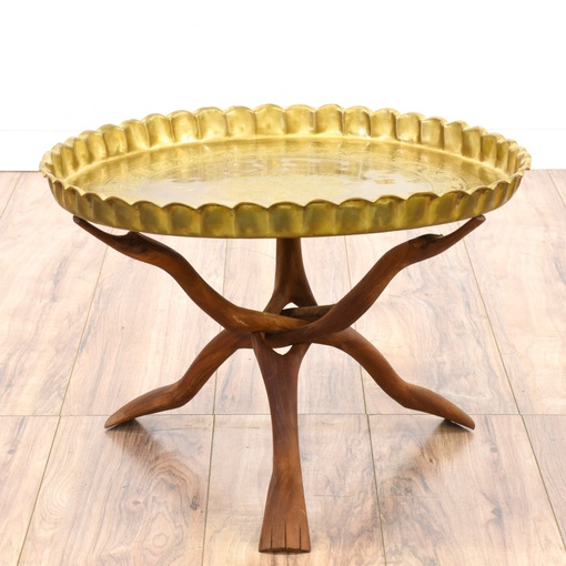 Moroccan Style Brass Tray Coffee Table
