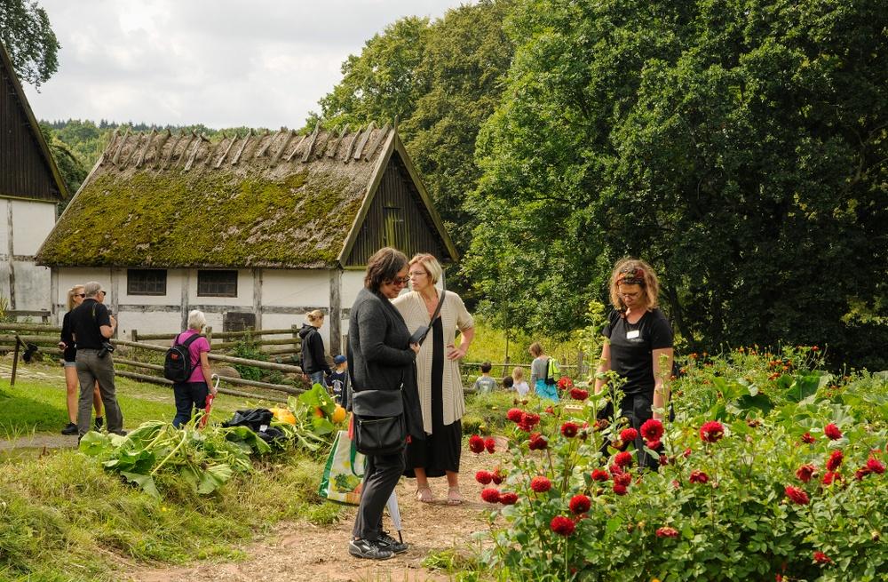 Besökare pratar med Kulturens trädgårdsmästare Kristina Bakran vid köksträdgården på Östarp. Foto: Viveca Ohlsson/Kulturen