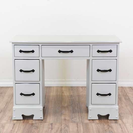 White Kneehole Desk Vanity