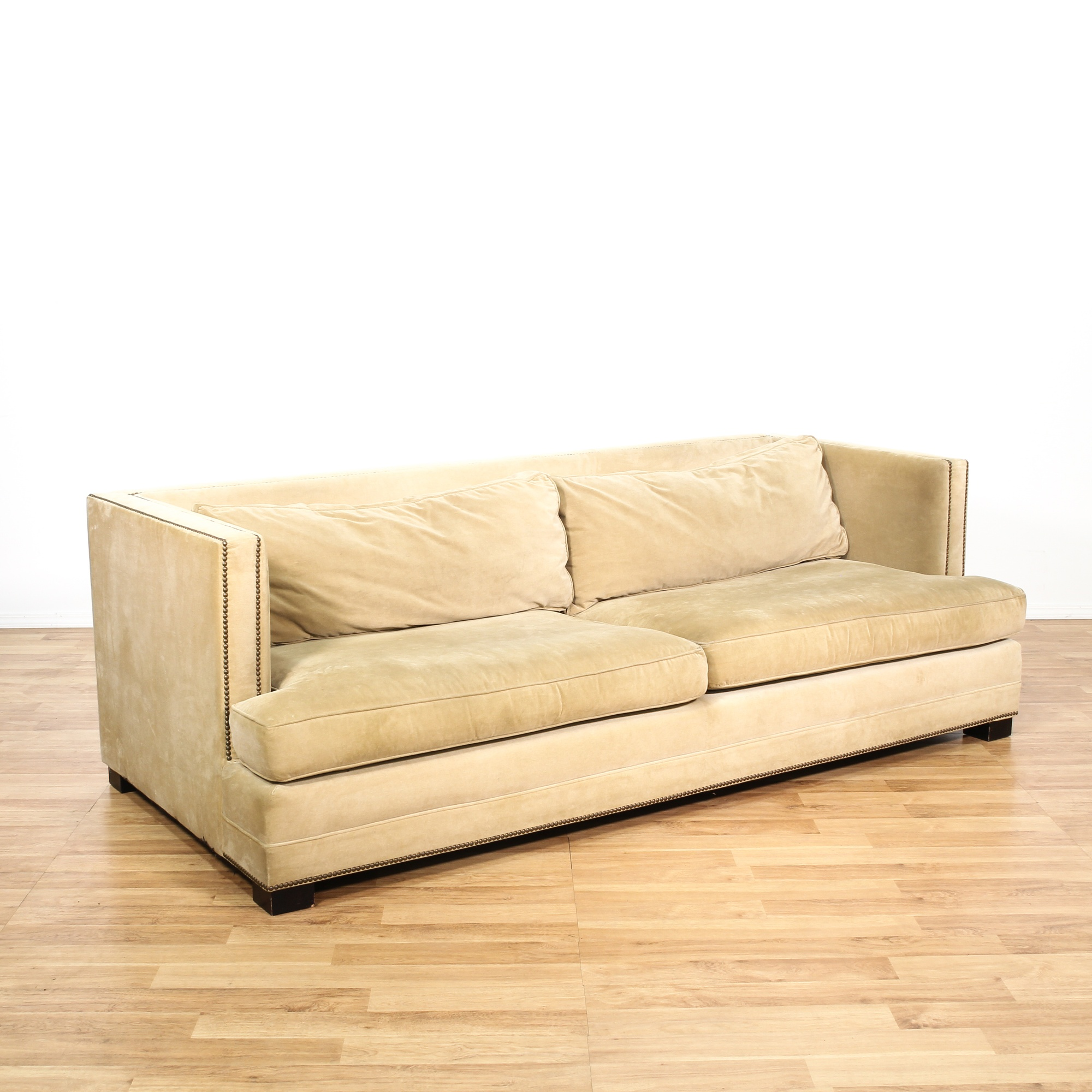 Mitchell and gold studded upholstered sofa loveseat for Studded sofa