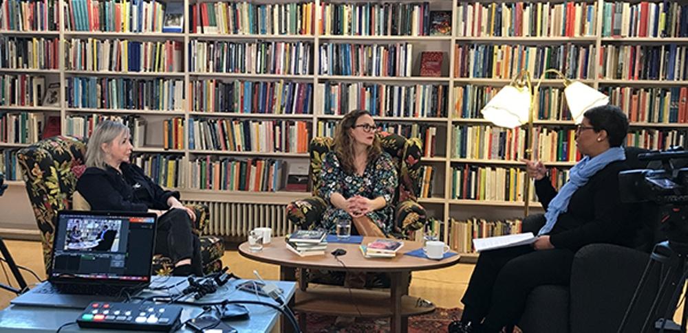Från filmning av Att möta det svåra med humor, program i samband med Nordisk barnbokskonferens.