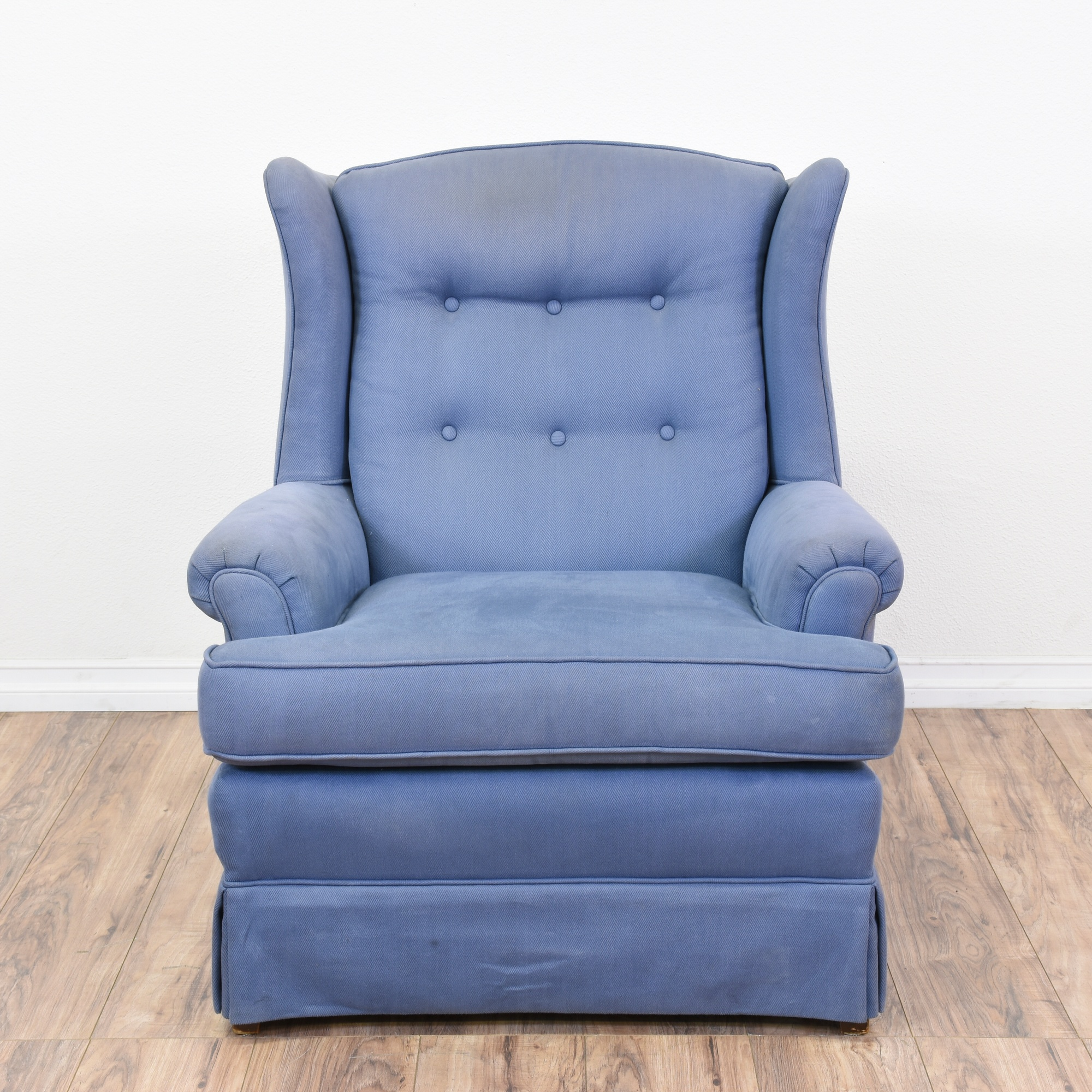 Traditional Blue Wingback Tufted Armchair Loveseat Vintage Furniture San Diego Los Angeles