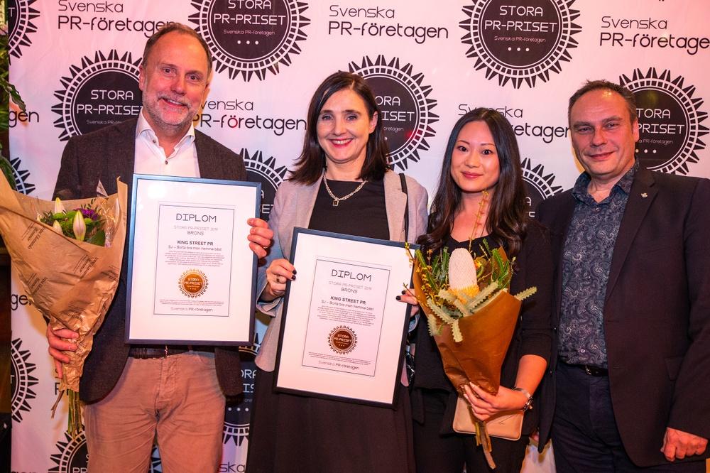 """Brons i Stora PR-priset 2019 gick till King Street PR för SJ-kampanjen """"Borta bra men hemma bäst""""."""