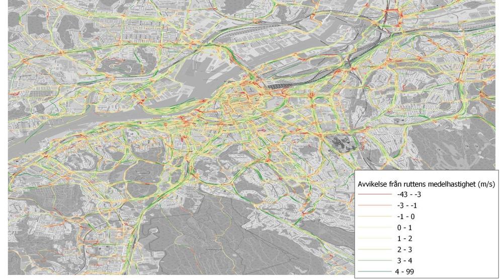 Kartan ger en överblick över vilka cykelvägar och korsningar som fungerar bra och vilka som behöver ses över för att göra cykling mer bekvämt. Grön linje visar att cyklisterna har god framkomlighet. Röd att det finns hinder som drar ned farten.