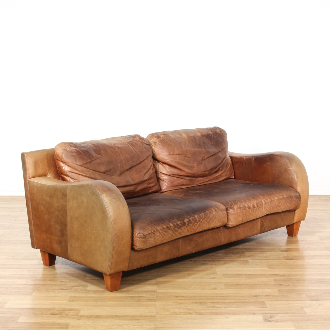 Brown Leather Sofa W Curved Arms Loveseat Vintage Furniture San Diego Los Angeles