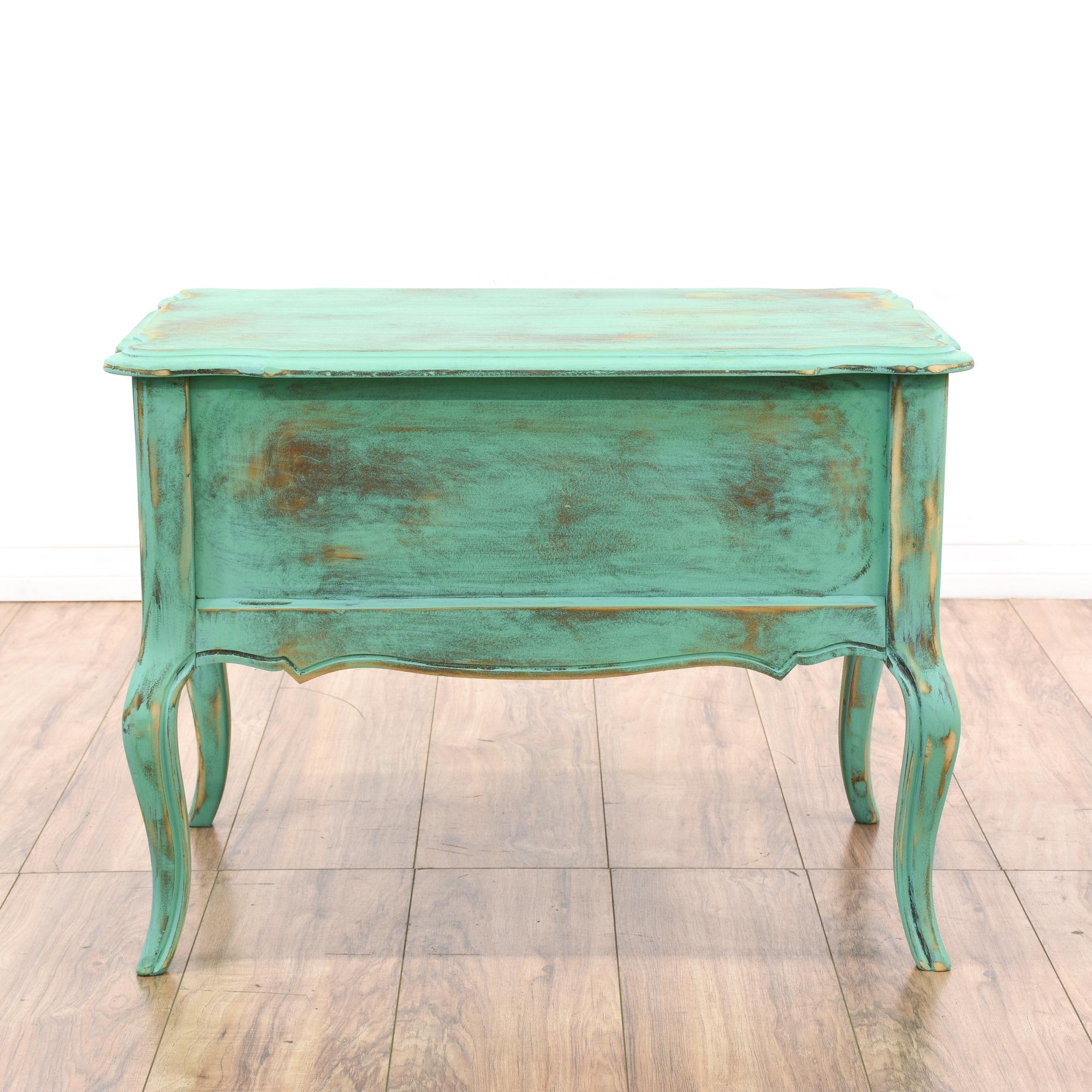 teal green shabby chic 1 drawer end table loveseat vintage furniture san diego los angeles. Black Bedroom Furniture Sets. Home Design Ideas
