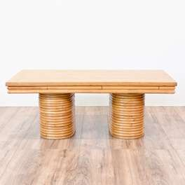 """Paul Frankl"" Style Tropical Rattan Coffee Table"