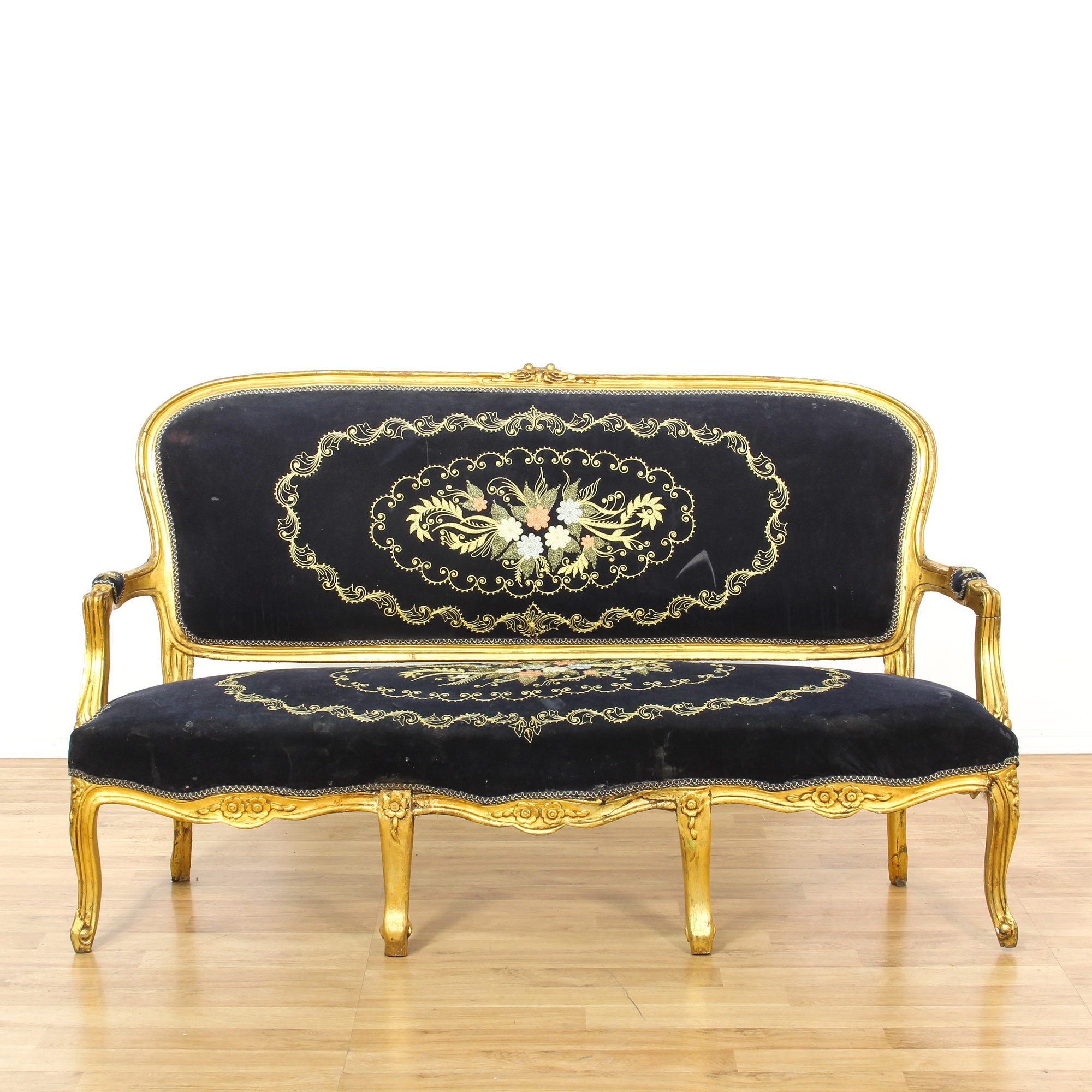 Black Louis Xv Style Upholstered Floral Sofa Loveseat Vintage Furniture San Diego Los Angeles