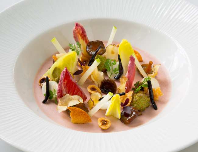 Autumn vegetable salad and chicken liver panna cotta by Ruth Hansom