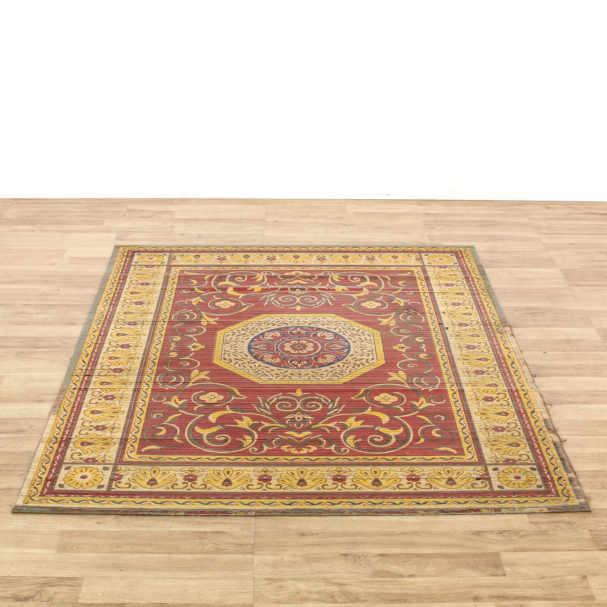 Red & Yellow Painted Wood Slat Area Rug