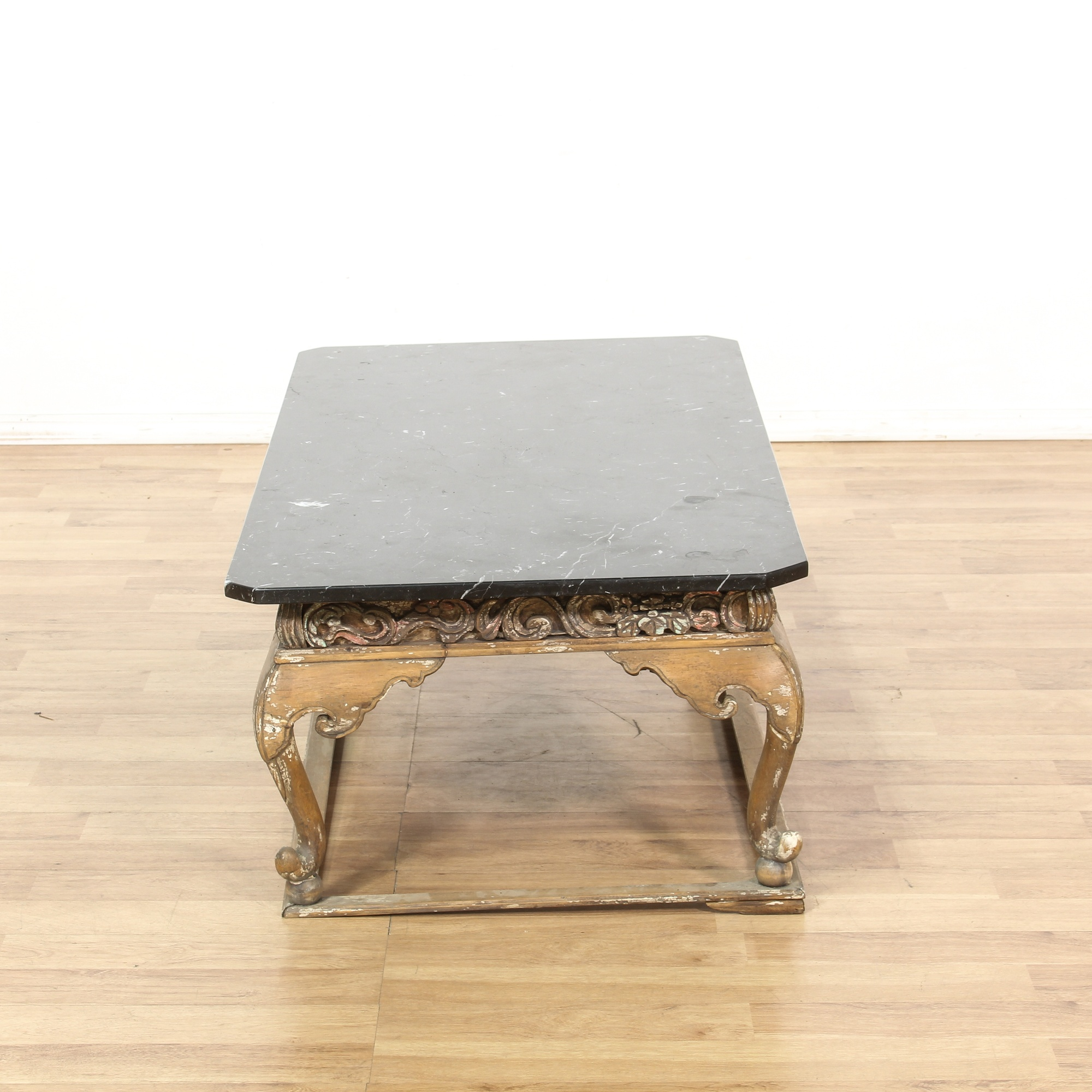 Marble Coffee Table Wood Legs: Chinese Carved Wood Black Marble Top Coffee Table
