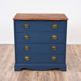Nautical Blue Wood Top Chest of Drawers