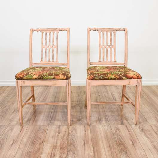 Pair of Light Pink Shabby Chic Floral Chairs