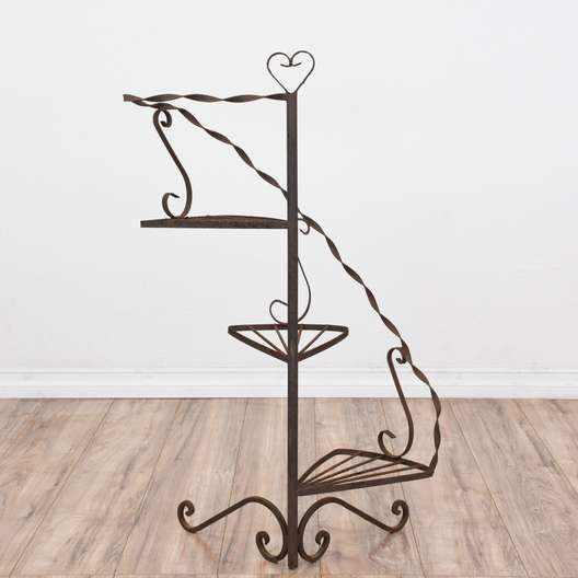 Shabby Chic Wrought Iron Heart Spiral Plant Stand