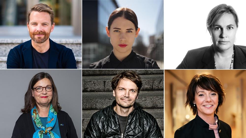 Övre raden: Hans Linde, Ninja Thyberg, Christina Friborg. Nedre raden: Anna Ekström, Pelle Ullholm, Matilda Ernkrans. Fotocred: se längst ner i pressmeddelandet.