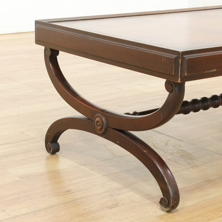 Antique Round Leather Top Coffee Table: Leather Top Traditional Coffee Table