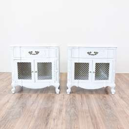 Pair of White French Provincial End Tables