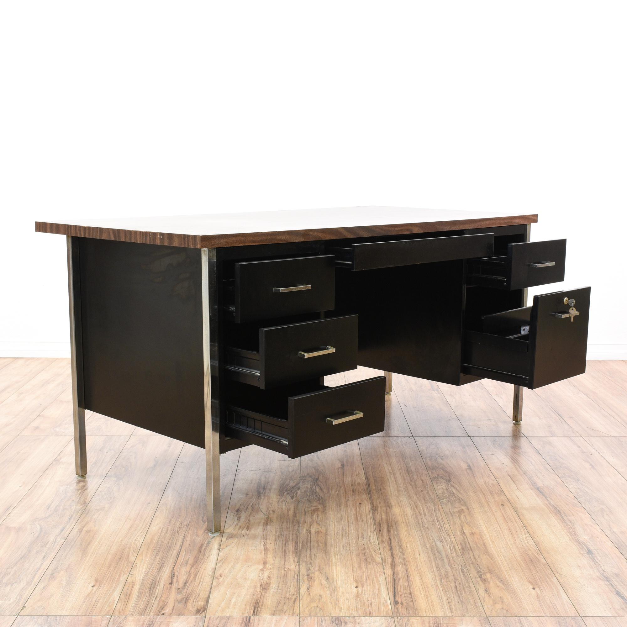mid century modern black chrome tanker desk loveseat