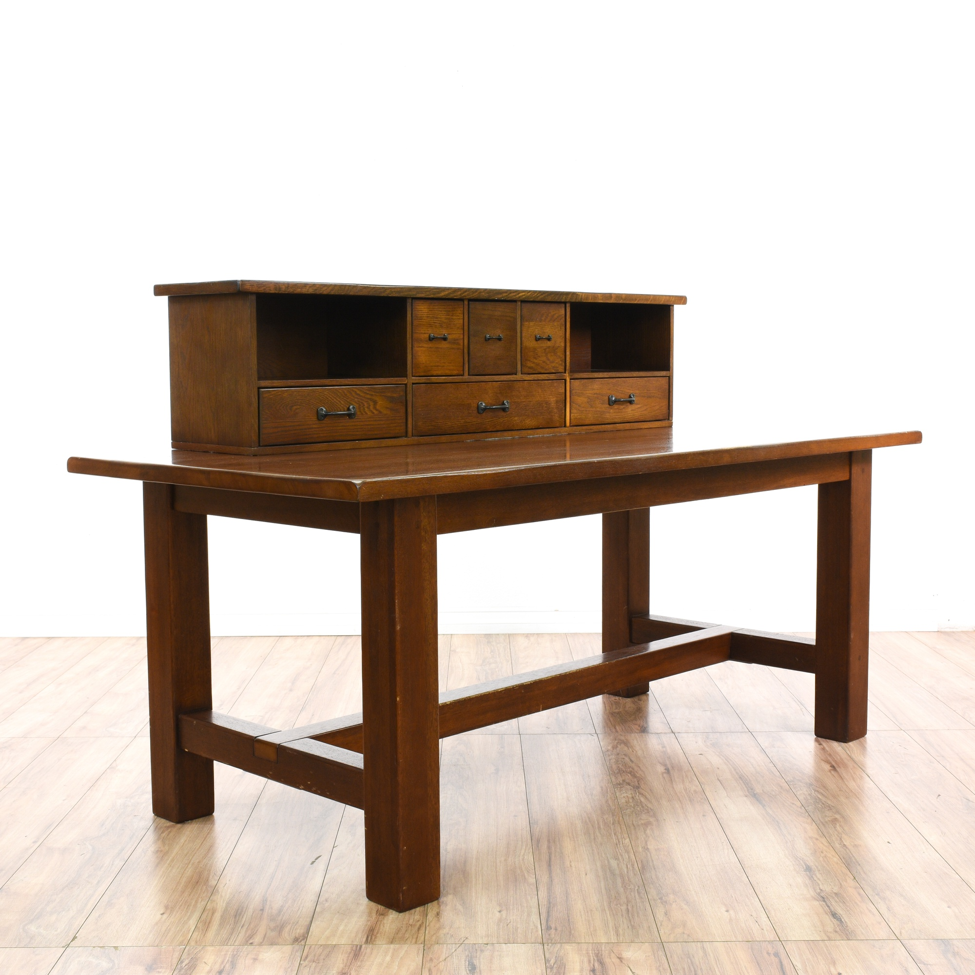 Mission craftsman style desk w hutch organizer loveseat vintage furniture san diego los angeles - Mission style computer desk with hutch ...