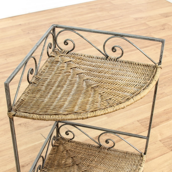 Wicker Amp Iron Corner Shelf Loveseat Vintage Furniture