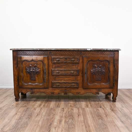 Cottage Chic Carved Marble Top Buffet