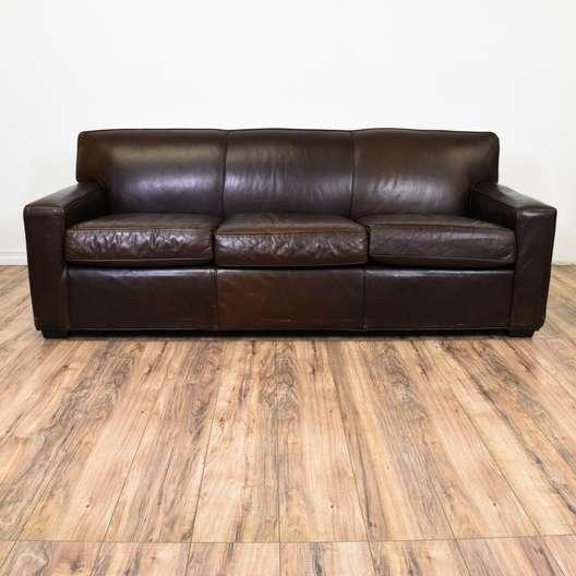"""Restoration Hardware"" Maxwell Leather Sofa"
