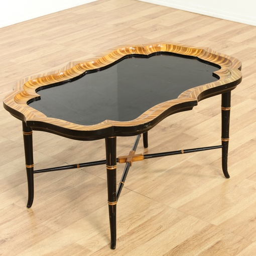 Black And White Striped Round Coffee Table: Regency Tray Top Striped Wood & Black Coffee Table