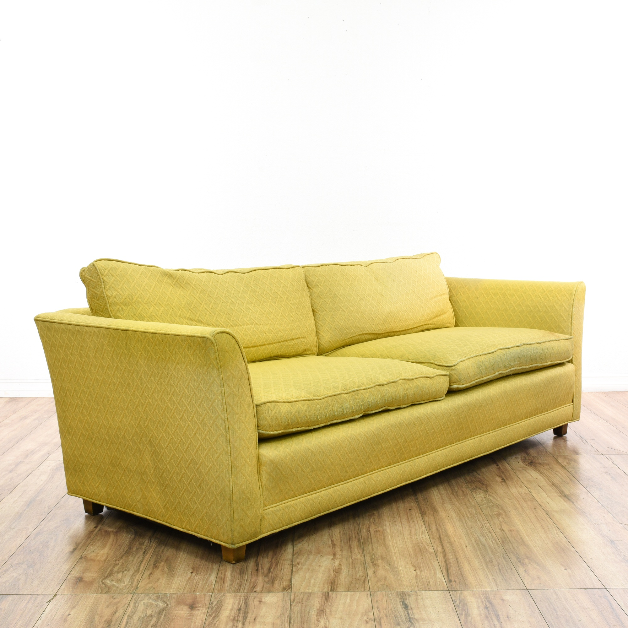 Yellow Upholstered Mid Century Modern Sofa