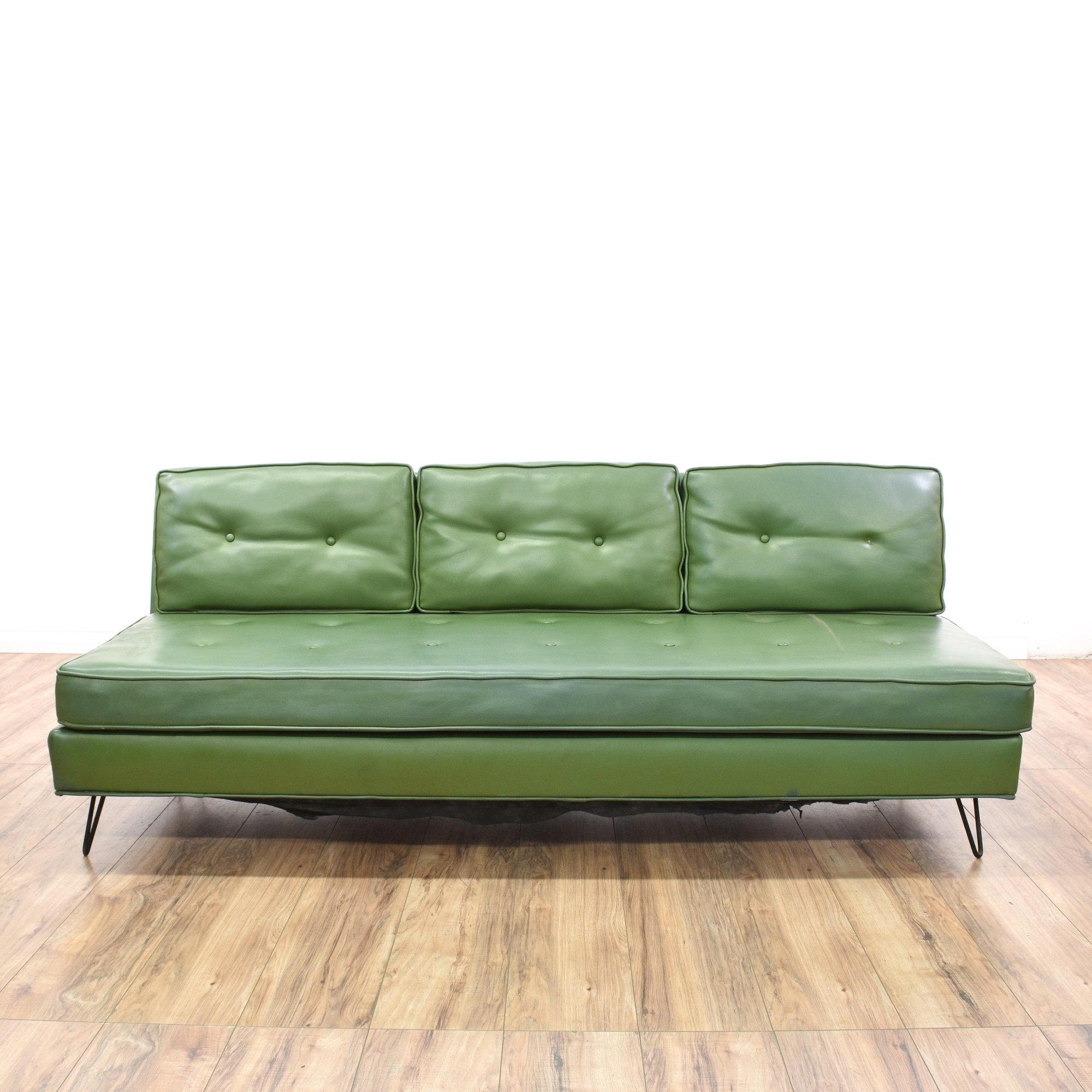 mid century modern green vinyl sofa loveseat vintage. Black Bedroom Furniture Sets. Home Design Ideas