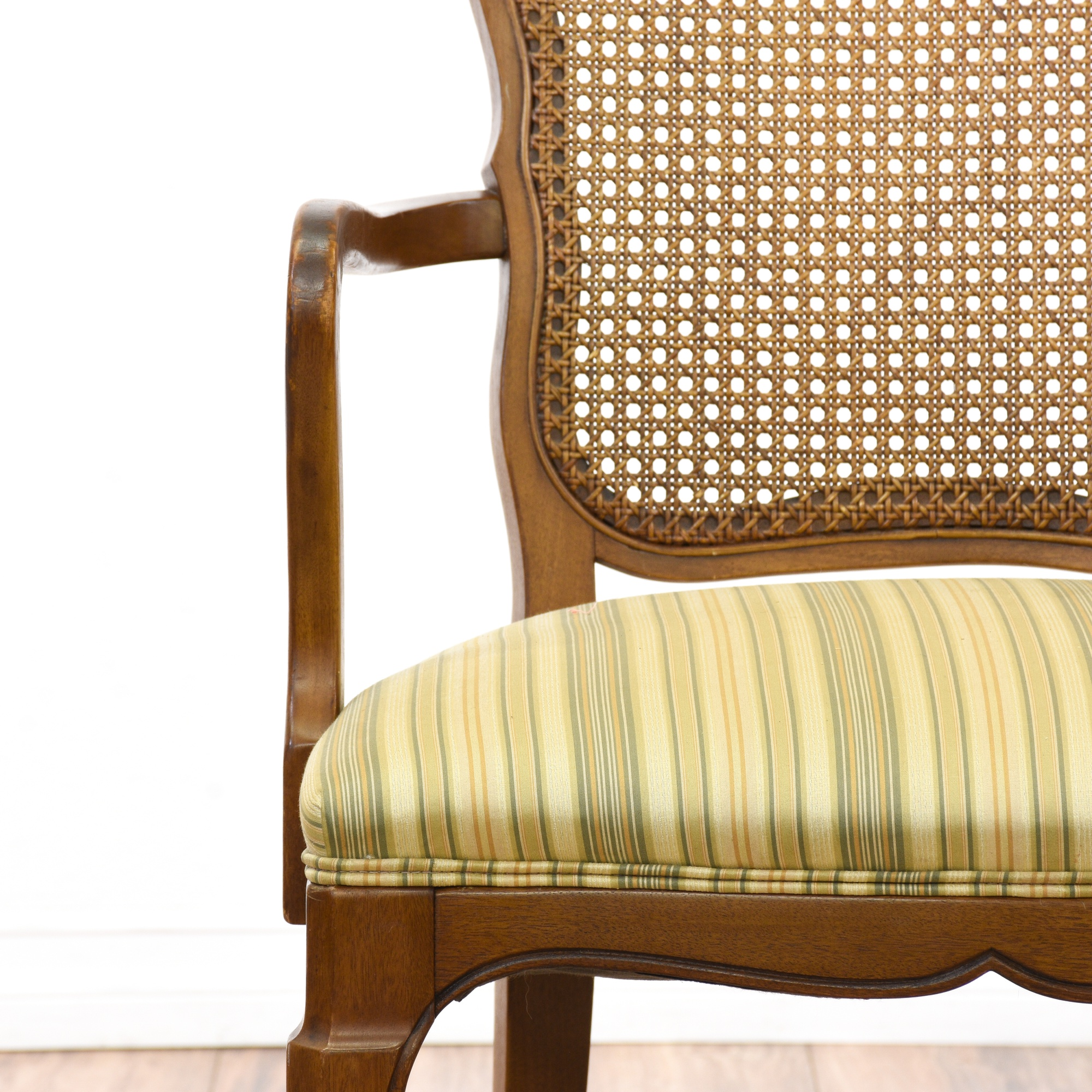 Set of 6 r way striped upholstered dining chairs for R way dining room furniture