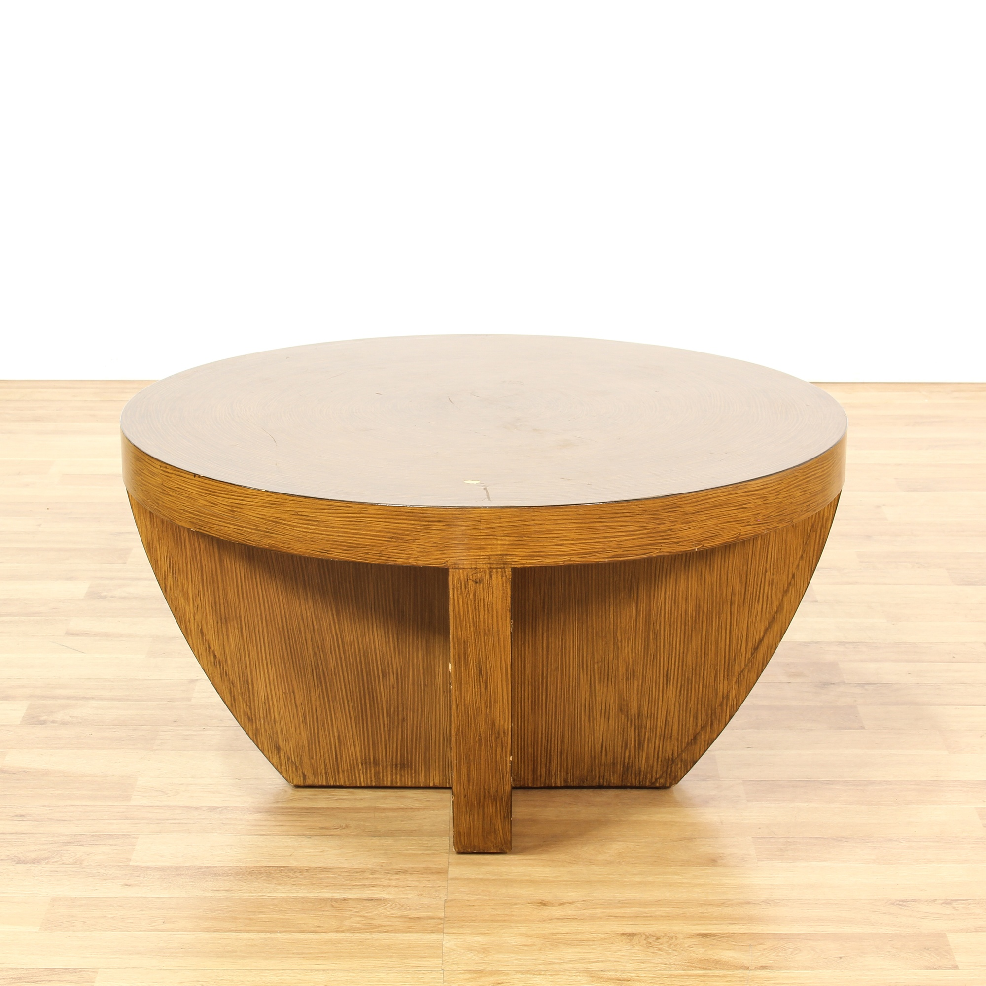 Contemporary Round Thick Wood Coffee Table