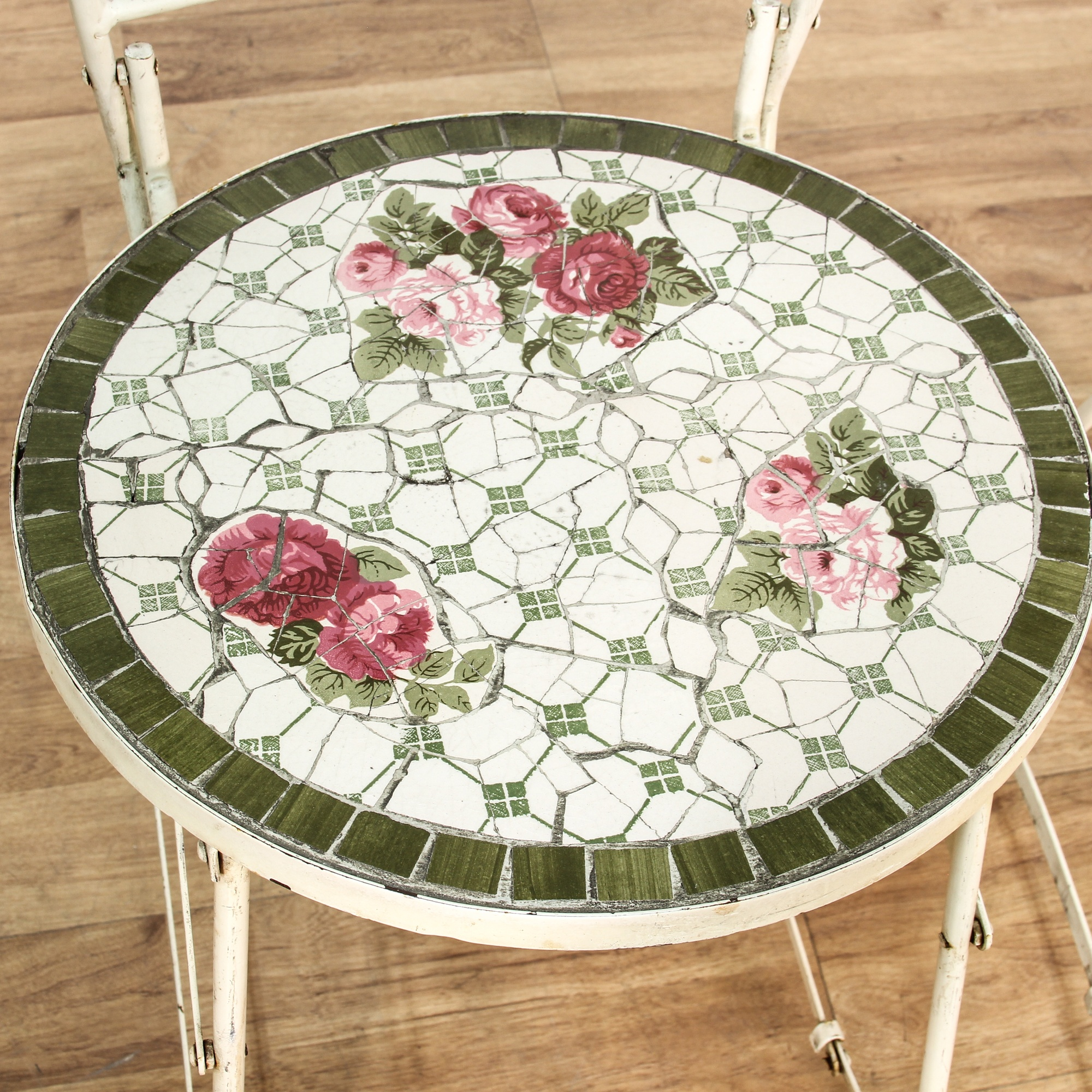 Pair Of Shabby Chic Folding Mosaic Seat Barstools