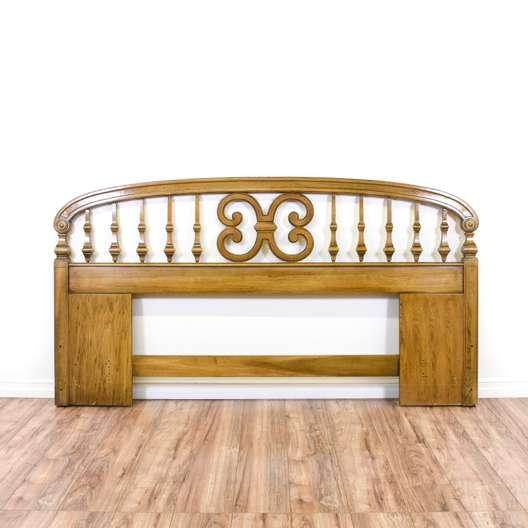 Carved Honey Oak Scroll King Sized Headboard