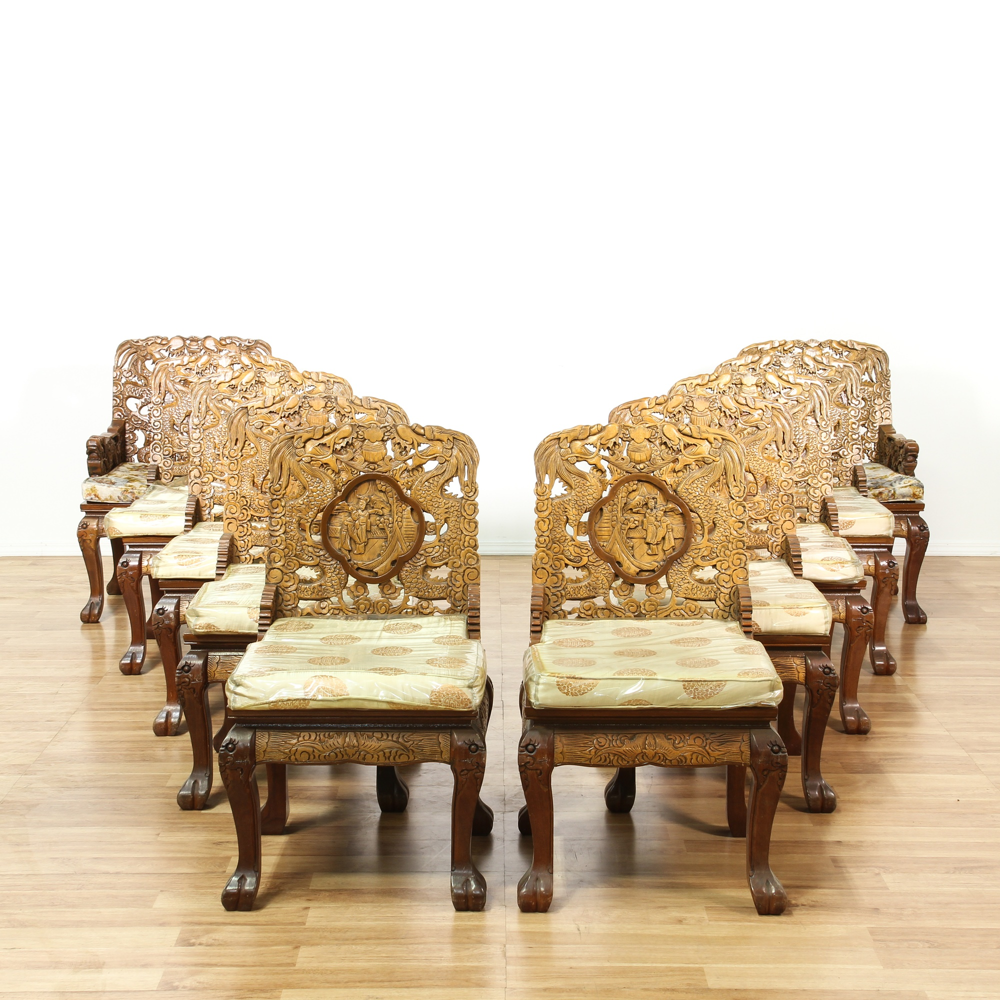 Antique Bed: Set Of 10 Chinese Carved Dragon Dining Chairs