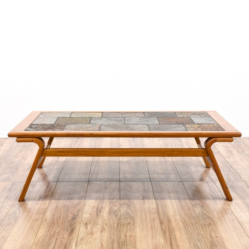 Storage Coffee Tables Los Angeles: Danish Modern Slate Tile Top Coffee Table